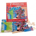 Coffret 2 puzzles Cartes de France