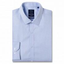 Chemise sans repassage ajustée popeline carreaux col semi-italien Bleu