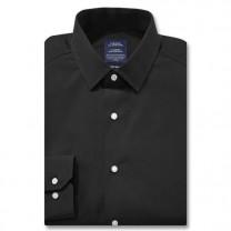 Chemise sans repassage ajustée popeline col semi-italien Noir