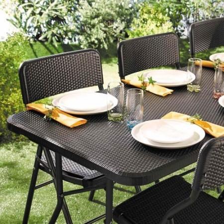 Ensemble de jardin «rotin» (1 table + 4 chaises)
