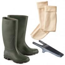 Bottes PVC et chaussettes micropolaire