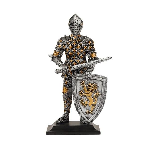La figurine chevalier au bouclier au lion