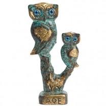 La chouette et son petit en bronze