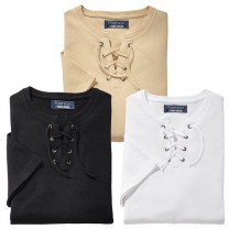 Tee-shirts col lacé - les 3