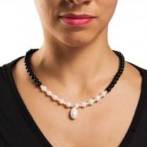 Collier onyx & perle d'eau douce
