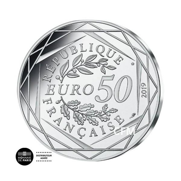 50 Euro Argent 2019 colorisée - Médaille La Déclaration des Droits de l'Homme