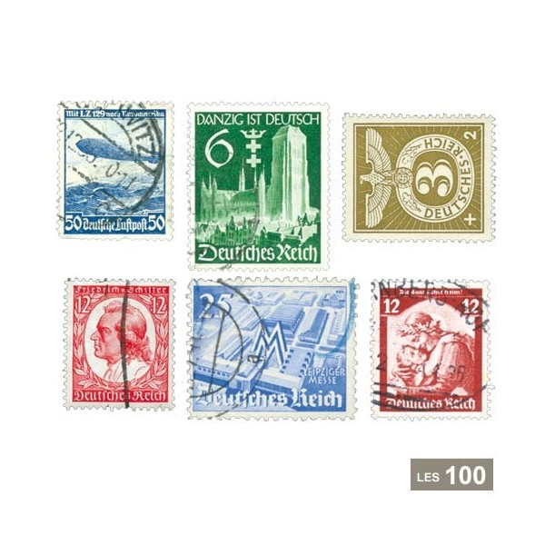 Timbres Seconde Guerre mondiale - 100 timbres Allemagne 1933-45