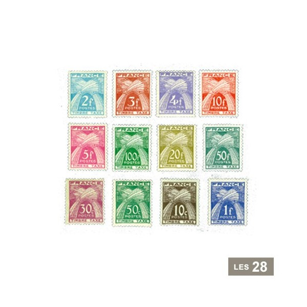 28 timbres-taxe France 1943-1946