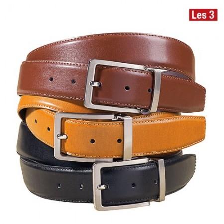 Trio de ceintures cuir les 3 acheter accessoires - Monsieur bricolage cognac ...