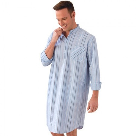 chemise de nuit seersucker acheter pyjamas robes de chambre l 39 homme moderne. Black Bedroom Furniture Sets. Home Design Ideas