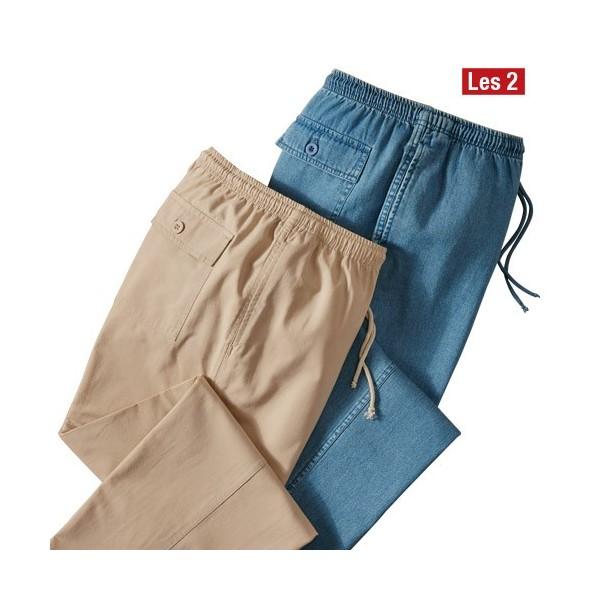 pantalons d tente les 2 acheter pantalons jeans l. Black Bedroom Furniture Sets. Home Design Ideas