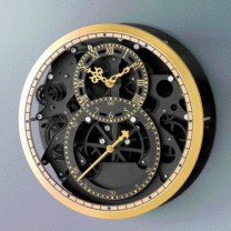 Horloge skeleton «black & gold»