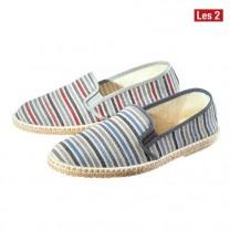 Chaussures en toile «bayadère» - les 2 paires