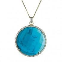 Pendentif turquoise cristaux