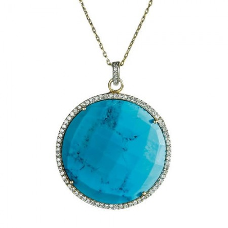 Pendentif turquoise & cristaux