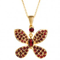 Le pendentif papillon en grenat