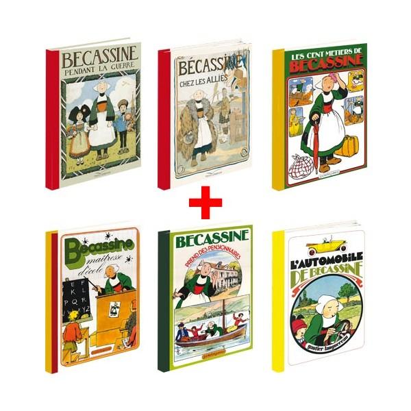 Lot de 6 ouvrages Bécassine : Guerre + Alliés + Métiers + École + Pensionnaires + Automobile