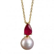 Collier perle & rubis