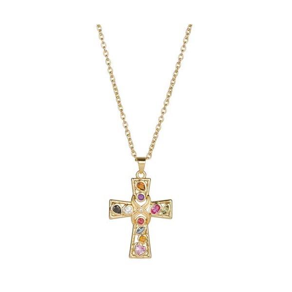 Le pendentif croix de pierres fines