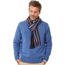 Pull Lambswool col montant Bleu