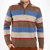 Pull Lambswool col montant Rayé