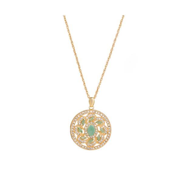 Collier-médaillon « fleur d'émeraudes »