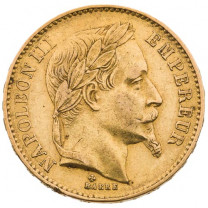 La 20 Francs Or Napoléon III TL 1866 BB