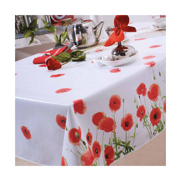 Toile cirée coquelicots ronde BlanClarence®