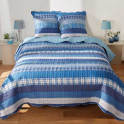 Couvre-lit bleu frégate (2 taies d'oreiller offertes)