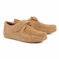 Chaussures à scratch cuir tressé coussin d'air