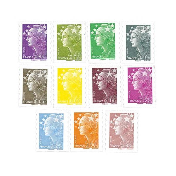 Les timbres Marianne adhésifs