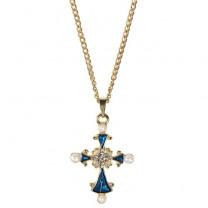 "Le pendentif croix ""perles et saphirs"""