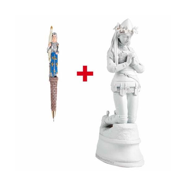 Jeanne d'Arc agenouillée + Stylo Jeanne d'Arc en soldat