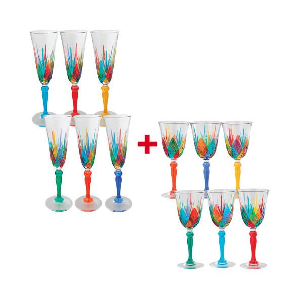 Les 6 flûtes à champagne + Les 6 verres à vin