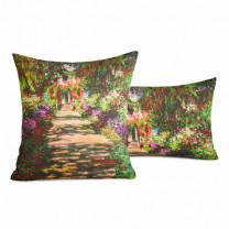 """Taie d'oreiller Monet : """"L'allée dans le jardin"""" BlanClarence®"""