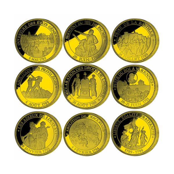 Le coffret des neuf pièces de collection dorées Révolution Française