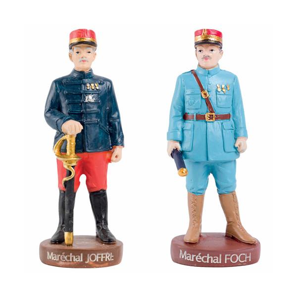 Les 2 figurines : Maréchal Joffre et Maréchal Foch