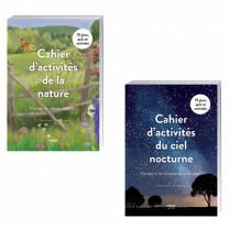 Lot de 2 ouvrages : Cahier d'activités de la nature + Cahier d'activités du ciel nocturne