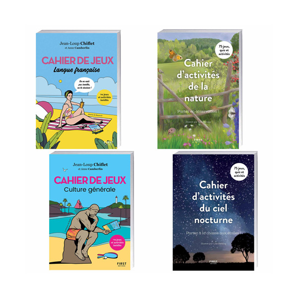 Lot de 4 ouvrages : Cahier Culture générale + Langue française + Activités de la nature + Activités du ciel nocturne+