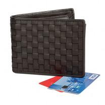Portefeuille cuir tressé anti-RFID