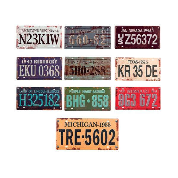 Les dix plaques d'immatriculation américaines vintage