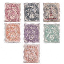 Les 7 timbres type blanc