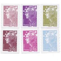 Les 6 timbres Marianne de l'Europe de 2010