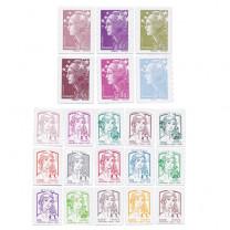 Le lot des 21 timbres de Marianne