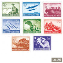 Les 25 timbres IIIe Reich 1943 et 1944