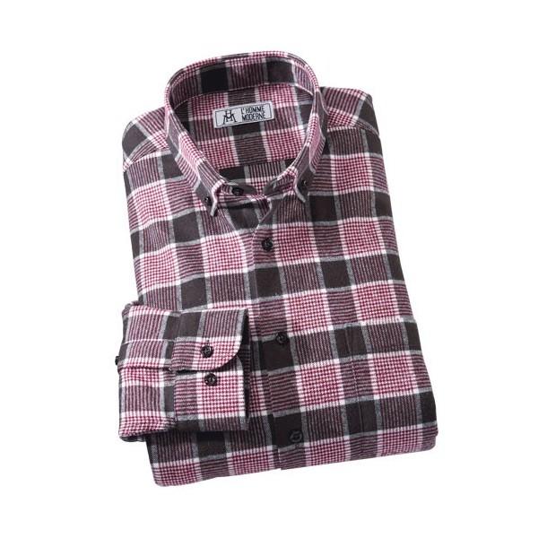 chemise flanelle 171 pied de poule 187 bordeaux acheter chemises polos l homme moderne