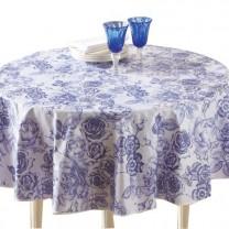 Toile cirée «fleur bleue» ronde