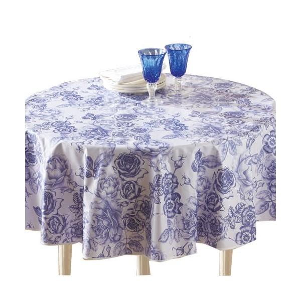 toile cir e fleur bleue ronde acheter arts de la table l 39 homme moderne. Black Bedroom Furniture Sets. Home Design Ideas